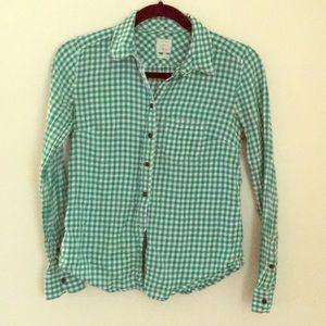 Gap green button down flannel XS
